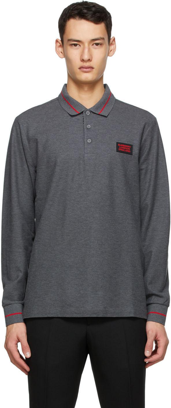 Burberry Grey Piqué Logo Long Sleeve Polo