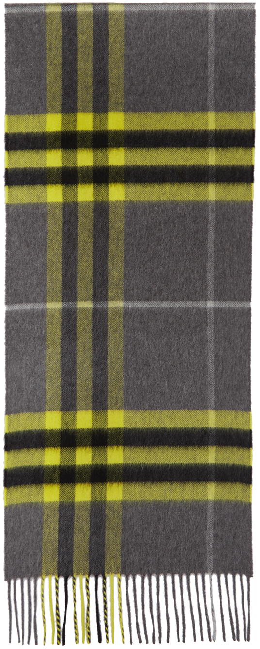 Burberry Grey & Yellow Cashmere Classic Check Scarf