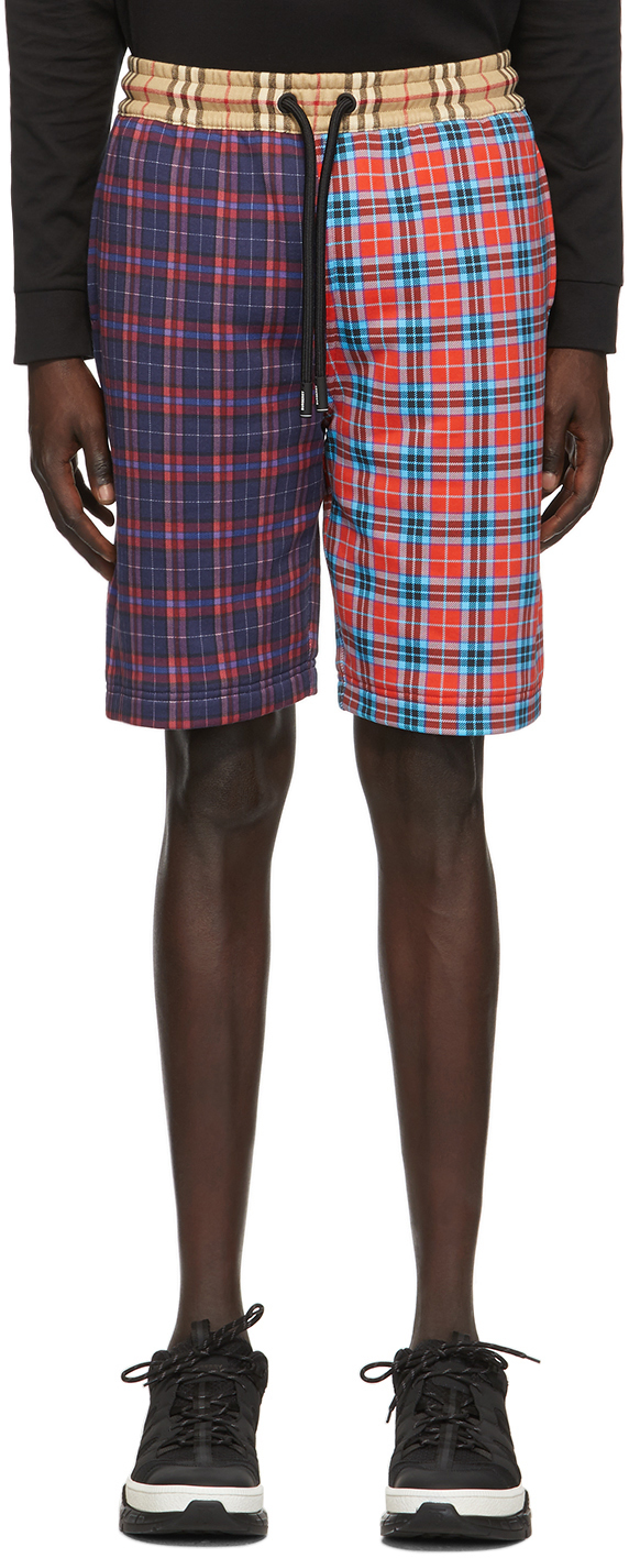 Burberry Multicolor Patchwork Check Drawcord Shorts