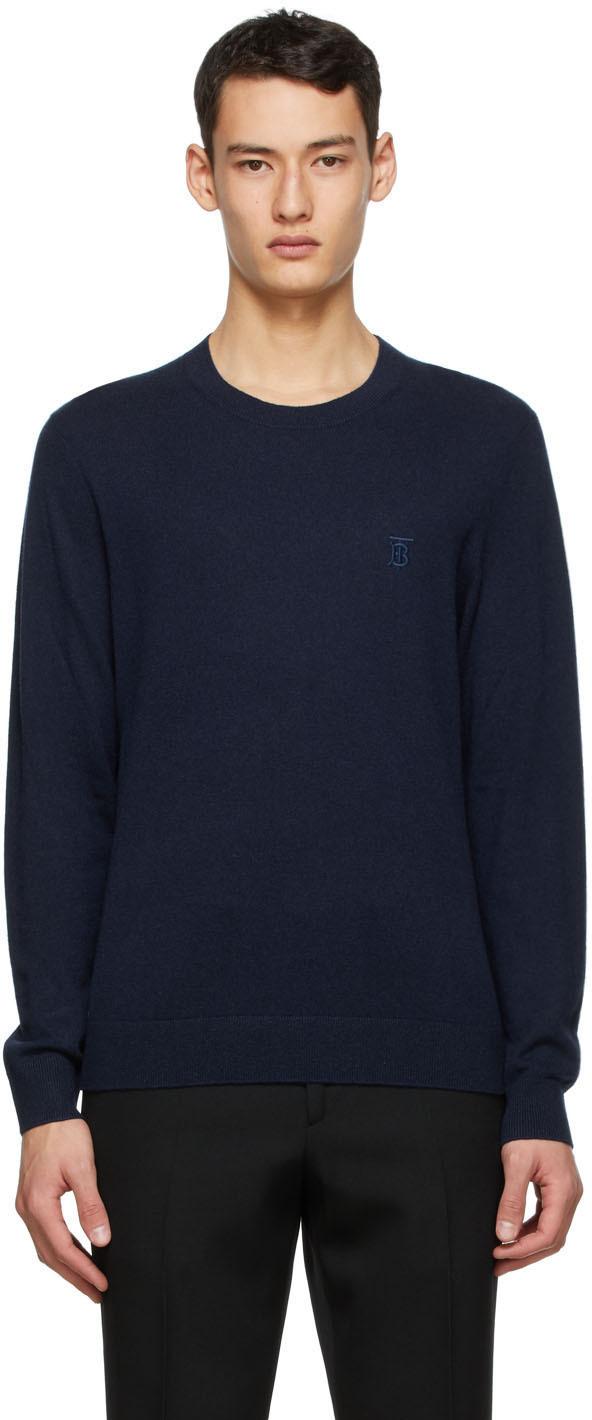 Burberry Navy Cashmere Monogram Motif Sweater