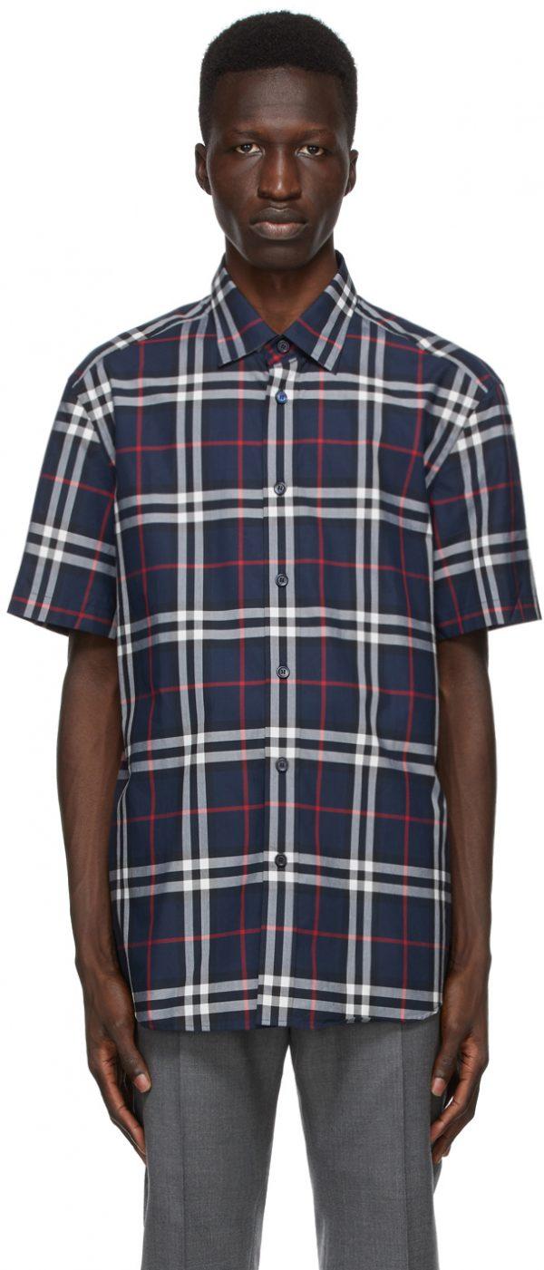 Burberry Navy Check Caxton Short Sleeve Shirt