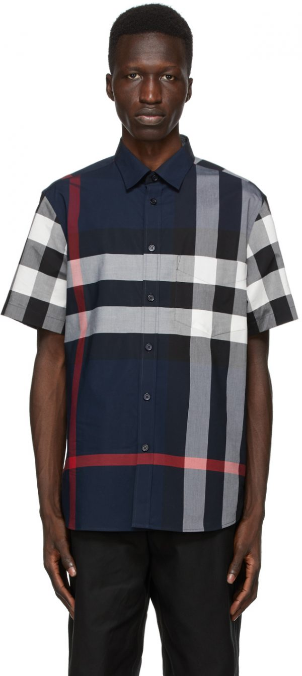 Burberry Navy Check Somerton Short Sleeve Shirt