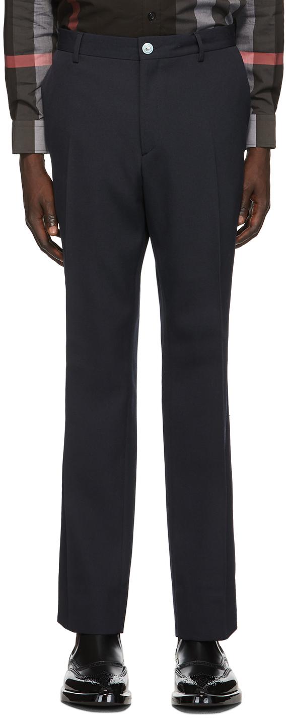 Burberry Navy Grain De Poudre Trousers