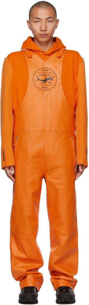 Burberry Orange Leather Shark Graphic Overalls