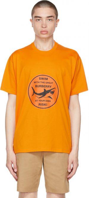 Burberry Orange Oversized Shark Graphic T-Shirt