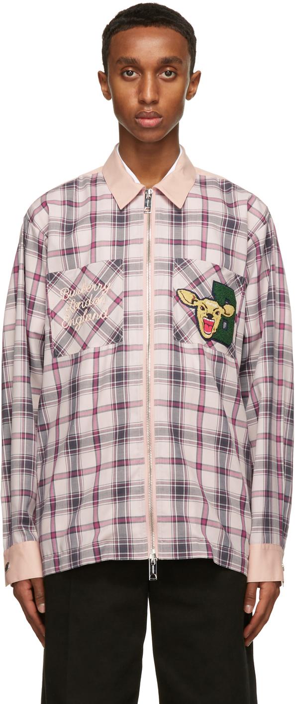 Burberry Pink Check Hannington Varsity Shirt