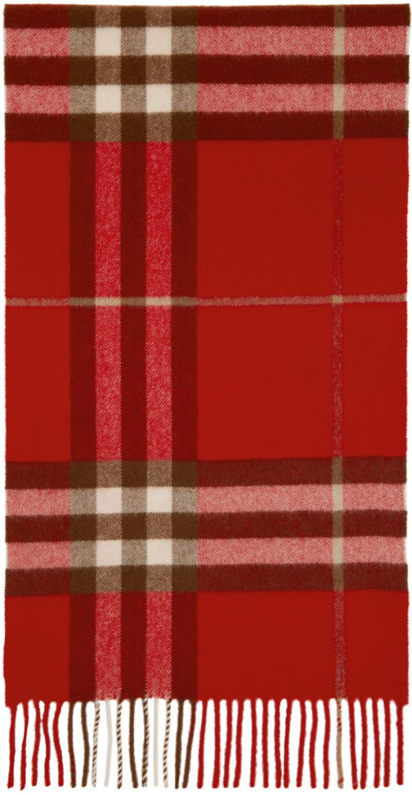 Burberry Red Cashmere Classic Check Scarf