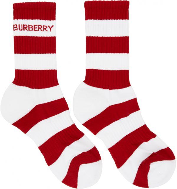 Burberry Red & White Striped Sport Socks