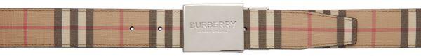 Burberry Reversible Beige E-Canvas Vintage Check Plaque Belt