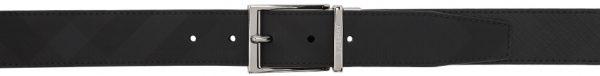 Burberry Reversible Black & Grey London Check Belt