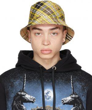 Burberry Reversible Yellow Check Bucket Hat