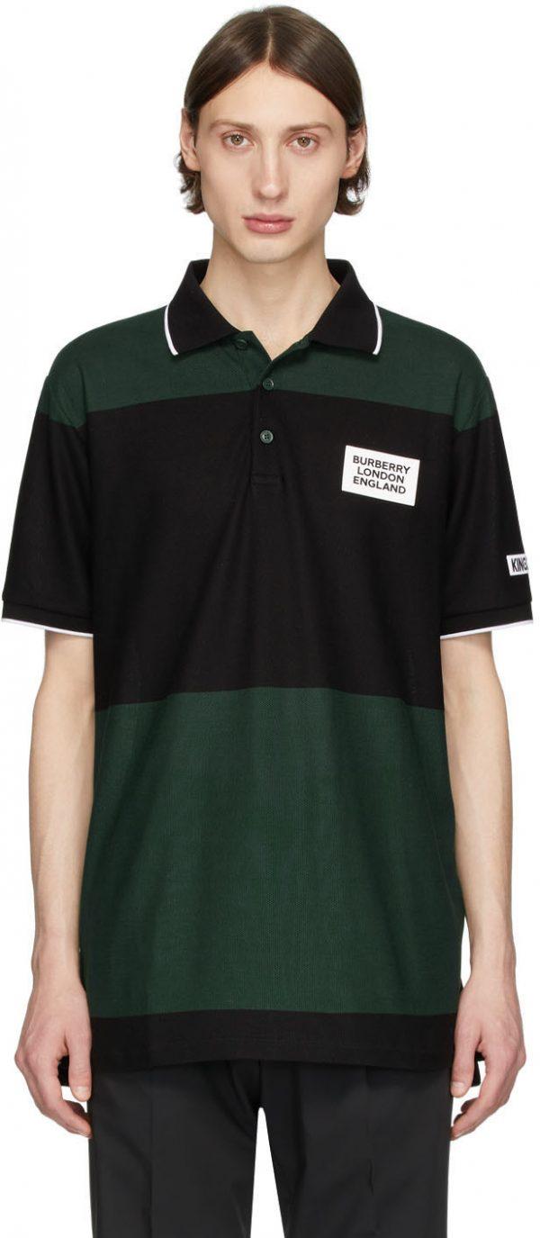 Burberry SSENSE Exclusive Black & Green Copland Polo