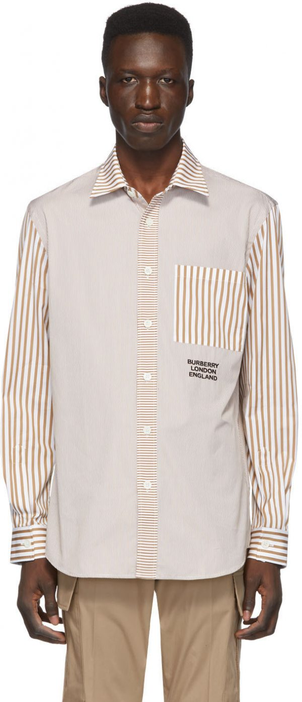 Burberry Tan & White Striped Shirt