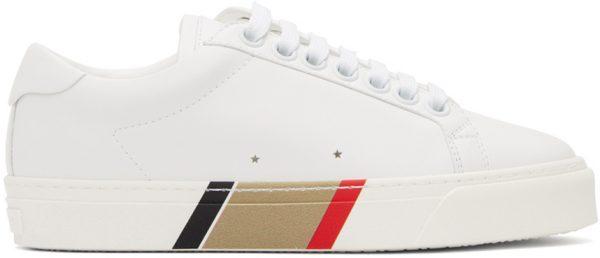 Burberry White Bio-Based Striped Sole Sneakers