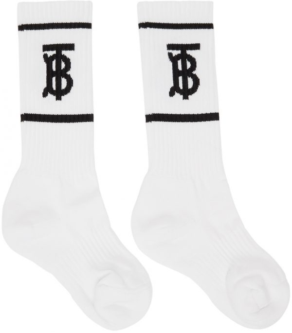 Burberry White Intarsia Monogram Socks