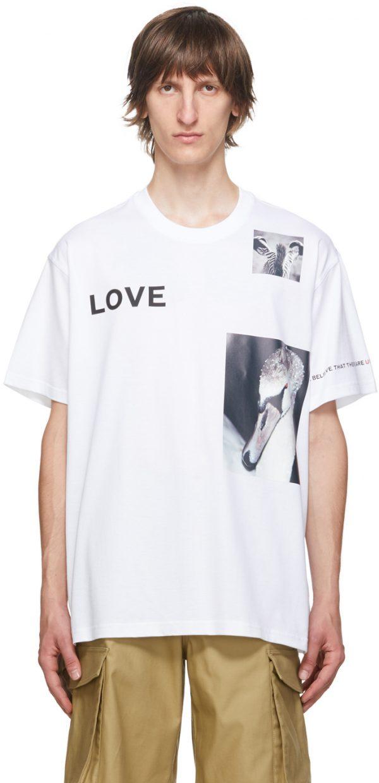 Burberry White 'Love' Swan T-Shirt