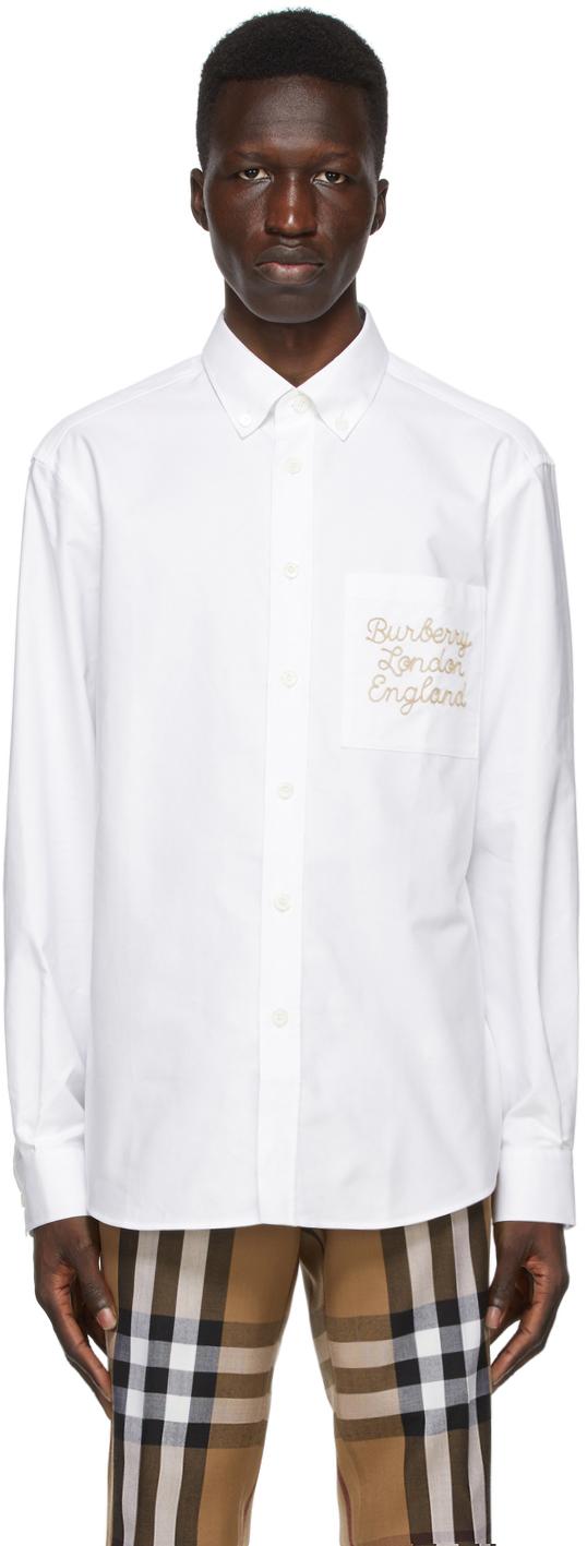 Burberry White Oxford Cadford Classic Shirt