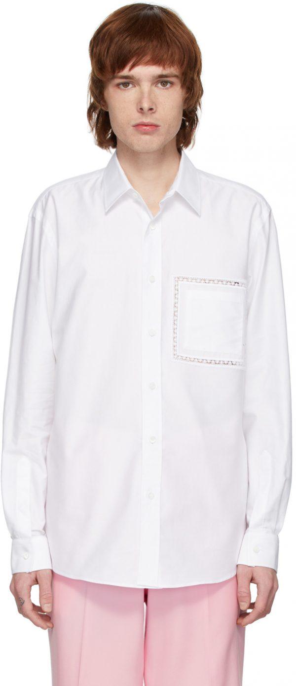 Burberry White Poplin Lace Detail Shirt