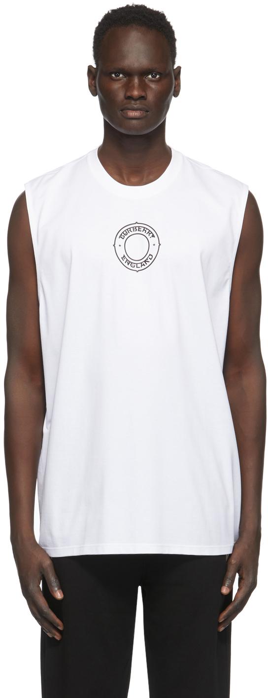 Burberry White Raised Print T-Shirt