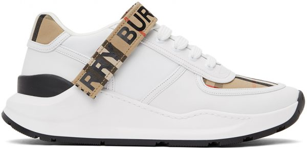 Burberry White & Beige Ronnie M Sneakers