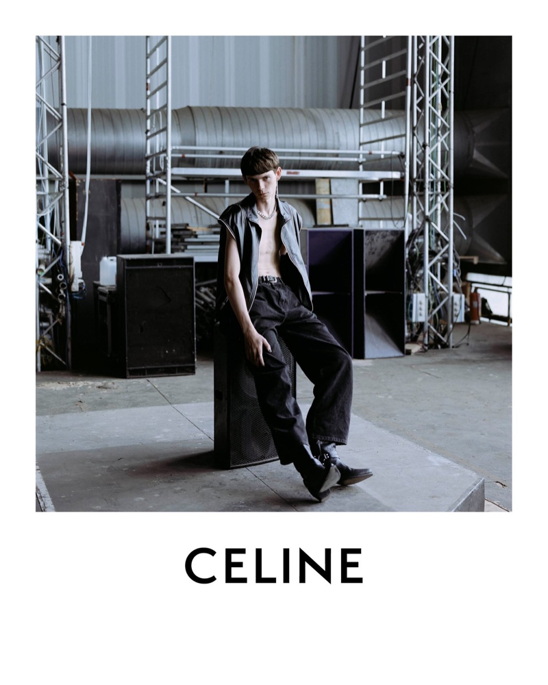 Front and center, Isaac Lane appears in Celine's spring-summer 2021 men's campaign.
