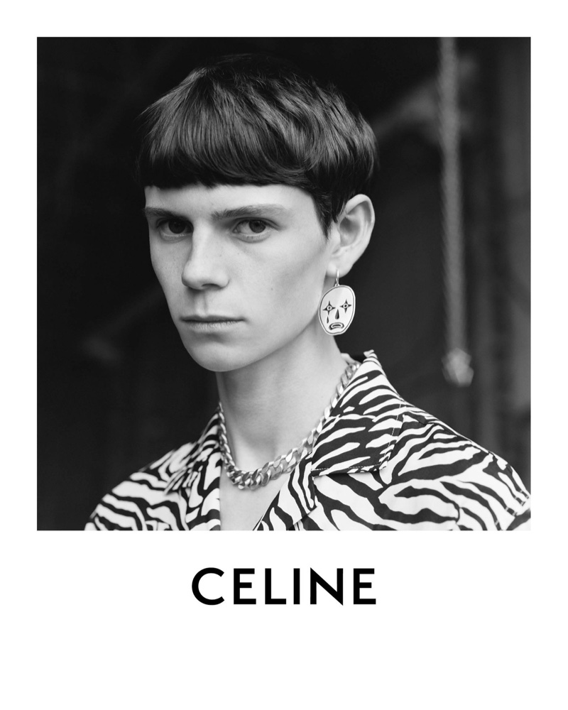 Ready for his close-up, Isaac Lane fronts Celine's spring-summer 2021 men's campaign in an animal print shirt.