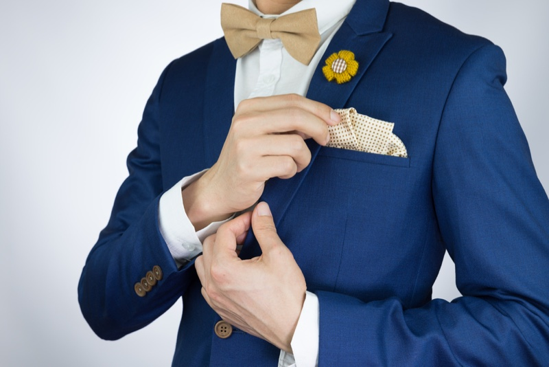 Cropped Man Blue Suit Pocket Square