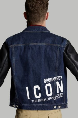DSQUARED2 Men Denim outerwear Blue Size 36 100% Cotton Polyester Viscose