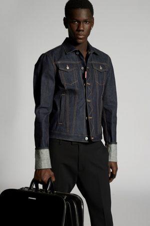 DSQUARED2 Men Denim outerwear Blue Size 38 100% Cotton