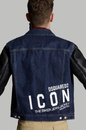 DSQUARED2 Men Denim outerwear Blue Size 38 100% Cotton Polyester Viscose