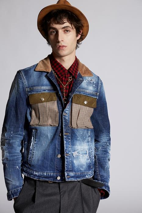 DSQUARED2 Men Denim outerwear Blue Size 44 98% Cotton 2% Elastane