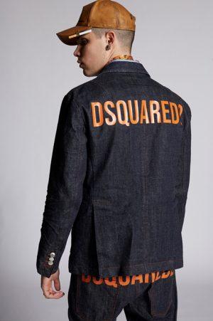 DSQUARED2 Men Denim outerwear Blue Size 46 100% Cotton