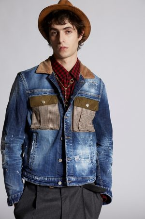 DSQUARED2 Men Denim outerwear Blue Size 46 98% Cotton 2% Elastane