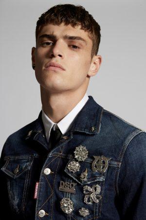 DSQUARED2 Men Denim outerwear Blue Size 46 99% Cotton 1% Elastane