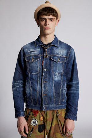 DSQUARED2 Men Denim outerwear Blue Size M 98% Cotton 2% Elastane