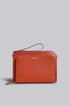 DSQUARED2 Men Hand bag Orange Size OneSize 100% Calfskin