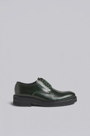 DSQUARED2 Men Lace-Up Green Size 7 100% Calfskin