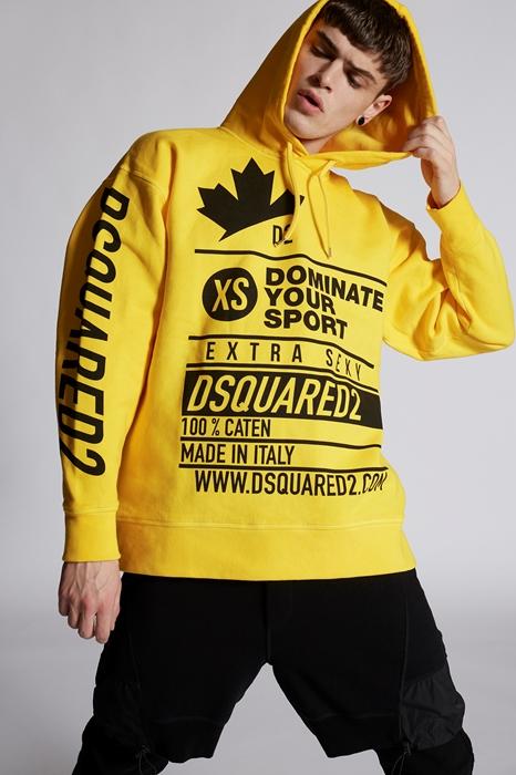 DSQUARED2 Men Sweatshirt Yellow Size M 100% Cotton