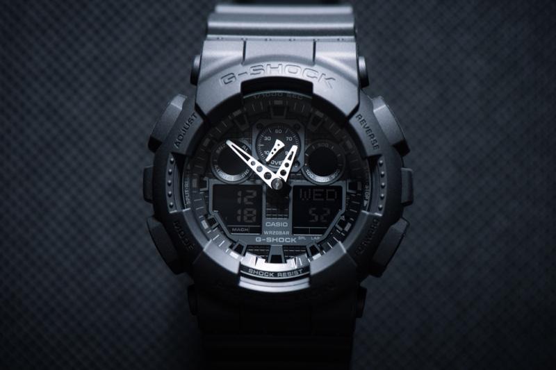 G-Shock GA-100-1A1 Black Watch Closeup