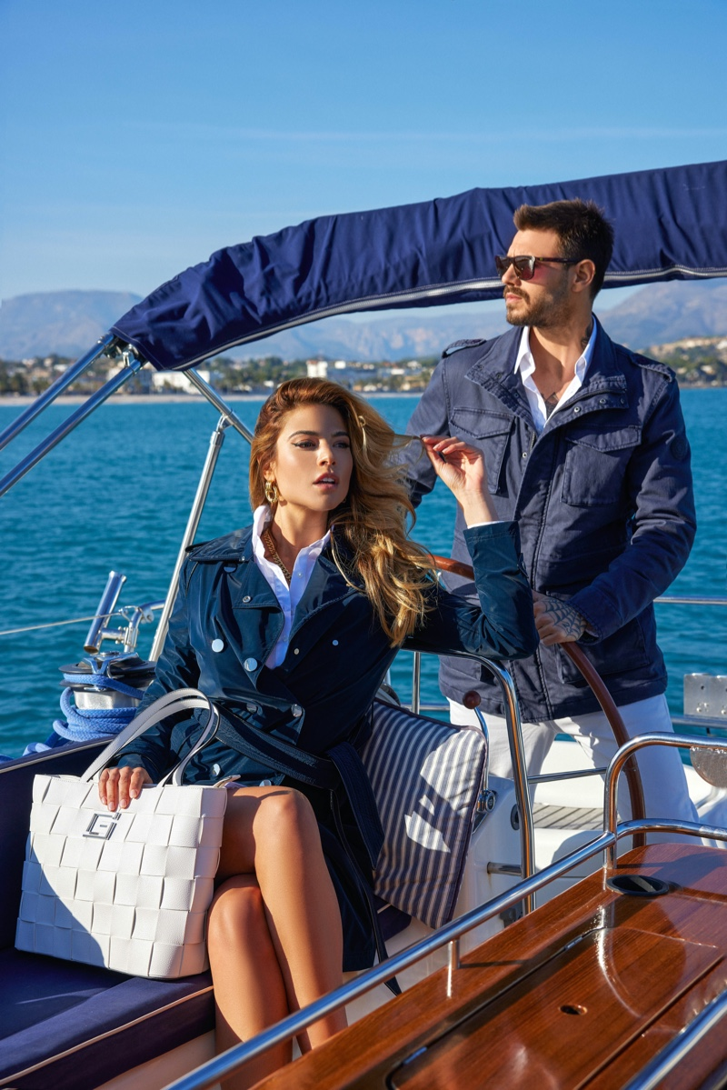 Embracing nautical tones, Lidia Santos and Francesco Monte star in GUESS' summer 2021 campaign.