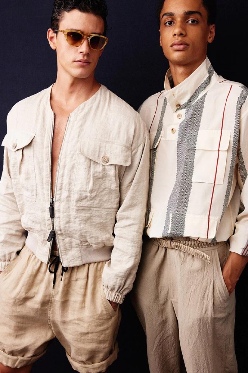 Xavier Serrano and Hugo Tiem sport neutral looks backstage at Giorgio Armani's spring-summer 2021 show.