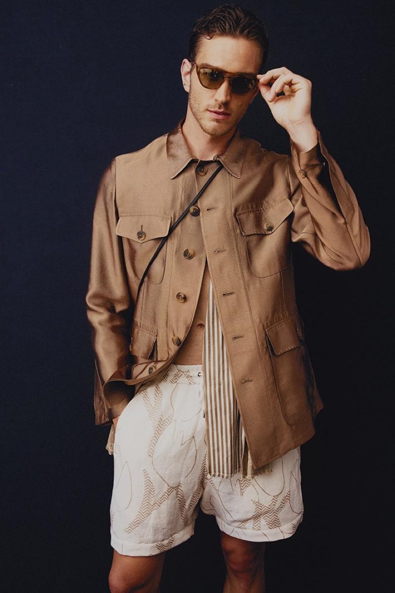 A sleek vision, Max Lang wears Giorgio Armani.