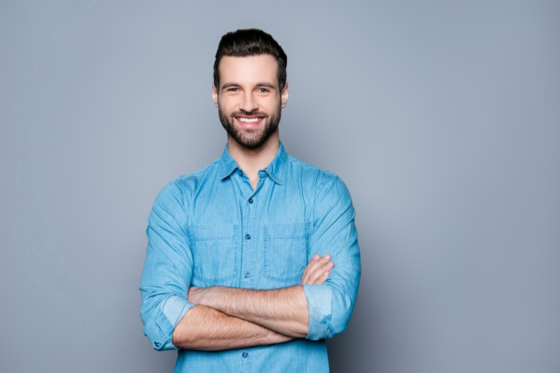 Happy Man Denim Button Up Work Shirt