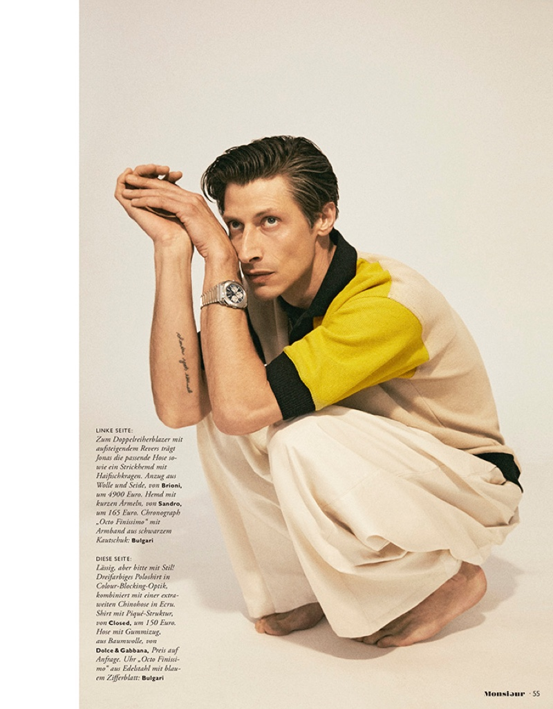 Jonas Mason Dons Chic Numbers for Monsieur Cover Shoot