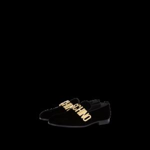 Lettering Logo Velvet Loafers
