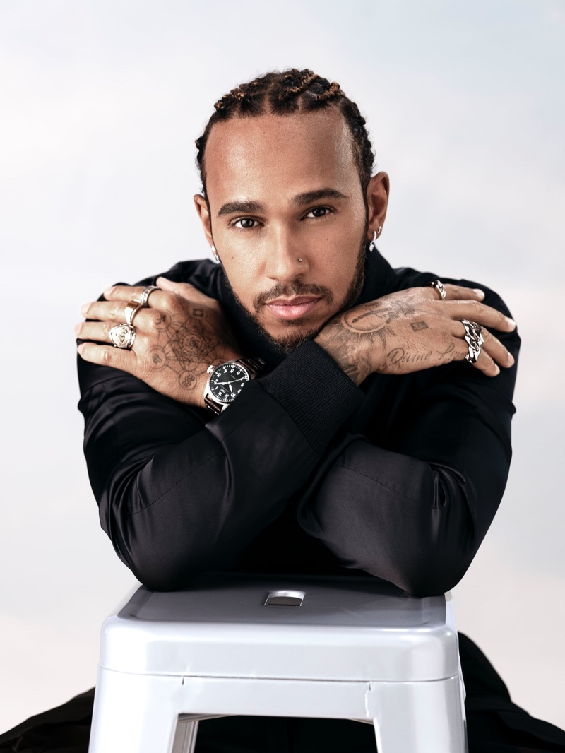 Front and center, Lewis Hamilton wears IWC's Big Pilot 43 watch for the brand's new advertising campaign.