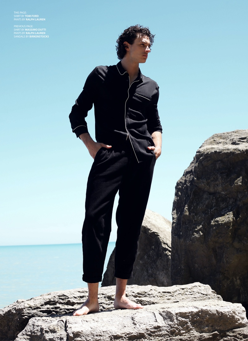 Luke wears shirt Tom Ford and pants Ralph Lauren.