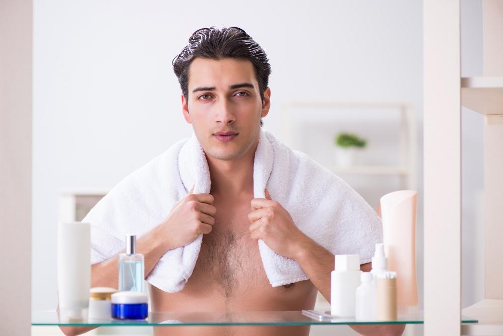 Male Model Face Care Skin Bathroom Routine