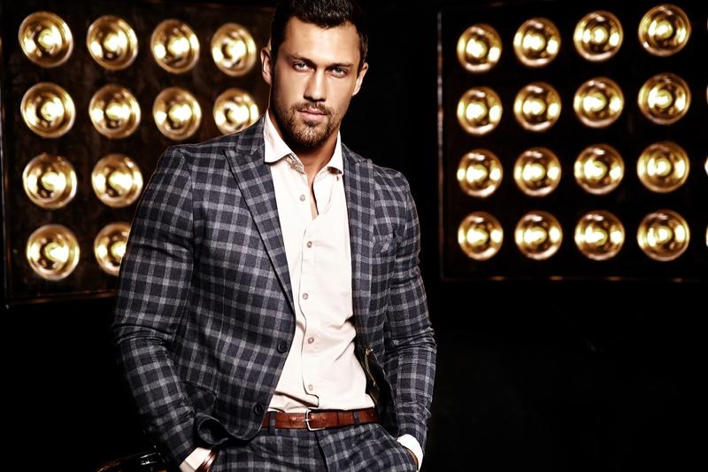 Male Model Plaid Suit Studio Lights