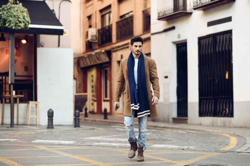 Male Model Walking Street Blue Scarf Brown Coat Ripped Denim Outfit